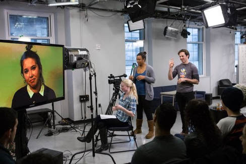 Brian Hastert teaching an on camera class at Pace University